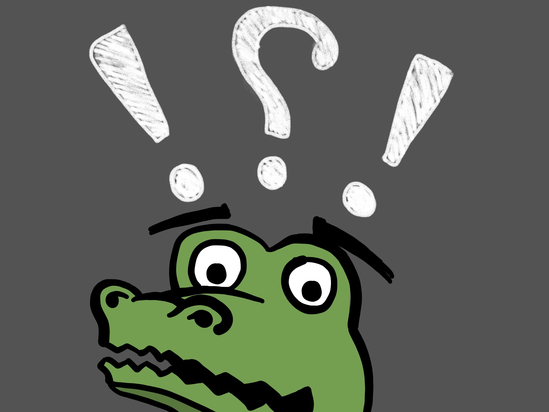 Cartoon gator head with a question mark and two exclamation points above his head